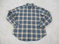 Ralph Lauren Polo Button Up Shirt Adult 2XL XXL Brown Blue Plaid Pony Mens B35