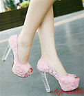 Womens Lace Wedding Bride High Heels Pumps Platform Open Toe Chunky Sandal Shoes