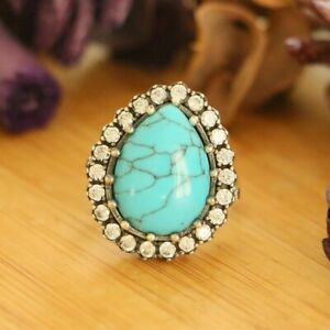 Natural Turquoise Women's Rings, Hurrem Sultan Turquoise Turkish Ring Size 8