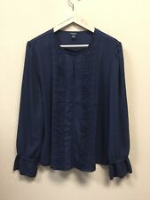 Ann Taylor Womens Blouse Navy Polyester Long Sleeve Round Neck Size Large