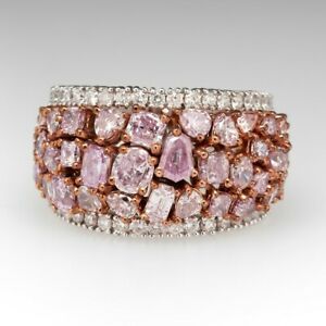 39 Fancy Pink Tourmaline In Rose Gold Over 925 Silver Prong Settings (18mm) Band