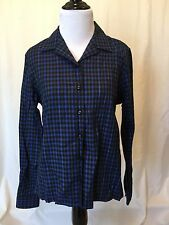 Crazy Horse Liz Claiborne Blue Green Red Plaid Blouse Button Up Size Small