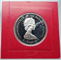 1971 The BAHAMAS Elizabeth II FLAMINGO Birds PROOF SILVER 2 Dollars Coin i87168