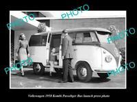 OLD POSTCARD SIZE PHOTO OF 1958 VOLKSWAGEN KOMBI BUS LAUNCH PRESS PHOTO