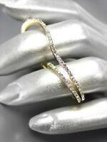 SHIMMER CHIC Artisanal Thin Curved Gold Metal CZ Crystals Double 2 Finger Ring
