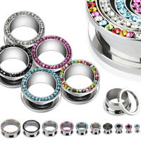 One Pair Steel CZ Gem Rim Screw Fit Ear Plugs Tunnels Earrings Gauges