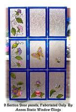 9 PANEL DOOR WINDOW FILM STATIC CLING SUN CATCHER Victorian LOOK DECORATION