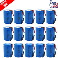 15pcs NiCd 4/5 SC Sub C 1.2V 2200mAh Rechargeable Battery With Tab Blue USA