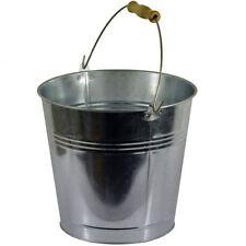 10L Galvanised Steel Metal Bucket Heavy Duty Water Coal Fire Wooden Handle