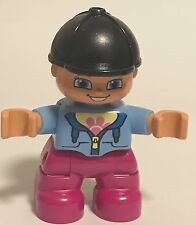 *NEW* Lego DUPLO GIRL MAGENTA Legs MEDIUM BLUE Top w Flower BLACK RIDING HELMET
