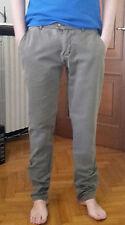 pantaloni INDIVIDUAL da uomo 36 slim chino verde oliva militare army lino 48 50