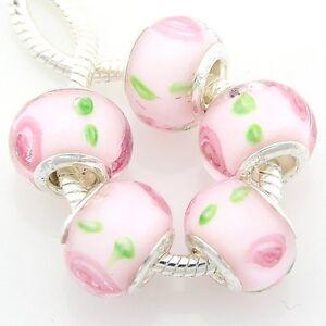 5pcs Murano Lampwork Glass Beads Silver Big Hole For European Charm Bracelet G5