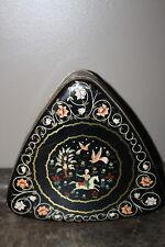 Vintage Peek Freen Biscuit Tin England Triangle Shape Folk Art Scene