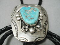 NATURAL TURQUOISE DETAILED VINTAGE NAVAJO STERLING SILVER BOLO TIE OLD