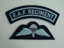 Royal Air Force Regiment Shoulder Title & RAF Parachute Qualification Wings