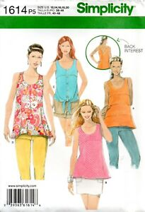 Simplicity Sewing Pattern 1614 Misses Tops With Back Details Size 12-20