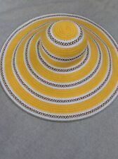 EUC Eric Javits Giant Floppy Squishee Straw Hat Yellow Striped 8 inch brim