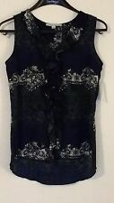 S Larry Levine NWT flounce top Black, teal & white modern floral abstract