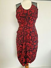 Whistles Red Animal Print 100% Silk Mesh Lined Dress Front Pleated Size UK8 EU36