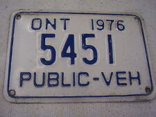 1976 CANADA  ONT. PUBLIC - VEH  TAG   LICENSE PLATE   5451