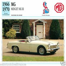 MG MIDGET MK III 1966 1970 CAR VOITURE GREAT BRITAIN GRANDE BRETAGNE CARD FICHE