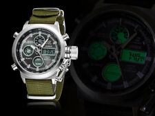 Ohsen Mens Military Army Digital & Analog Nylon Band Sport Watch Quartz Black