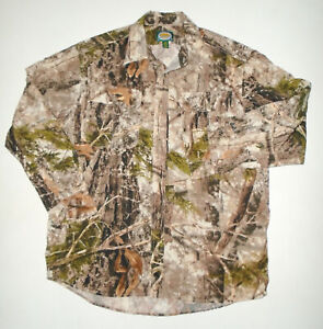 CABELA'S Camouflage Hunting Shirt ZONZ WOODLANDS Camo VENTED Mens L/S NEW : Md