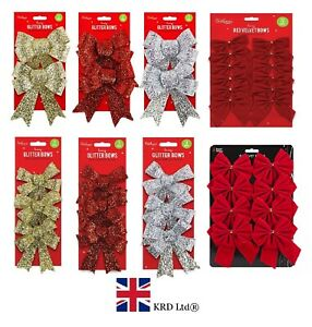 CHRISTMAS TREE BOWS Glitter Bow Decoration Baubles Xmas Party Garden Ornament UK