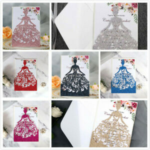 10PCS Laser Cut Invitations Sweet 16, Wedding, Quinceanera Glitter Party Card