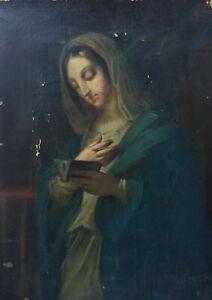 Tableau religieux ancien, Vierge à La Lecture, Huile Sur Toile à Restaurer, XIXe