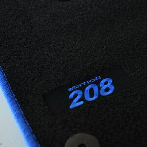 4 TAPIS SOL PEUGEOT 208 A PARTIR DE 2012 MOQUETTE LOGO BLEU SUR MESURE