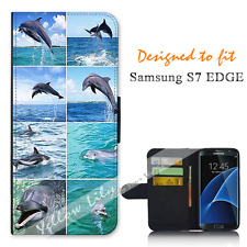 Samsung Galaxy S7 EDGE Wallet Flip Phone Case Cover Dolphin Collage Y00786