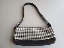 Oroton Australia Womens Black Leather & Herringbone Shoulder Bag Purse