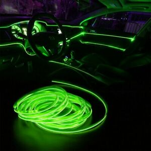 2m Green LED Car Interior Decorative Atmosphere Wire Strip Light Accessories EOE