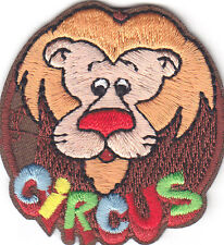 """""""CIRCUS"""" w/LION/Iron On Embroidered  Patch/Amusement, Fun, Games, Clowns"""