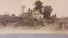 Ernest Rost Antique Etching of American Homestead Landscape, Large & Beautiful 2