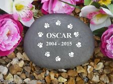 Pet Memorial - Large Pebble(Stone Effect) - Personalised - Weatherproof (Paws C)