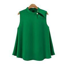 Elegant Women Bead Stand Collar Sleeveless Chiffon Vest Blouse Casual Shirt Tops