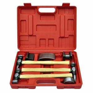 vidaXL Ausbeulset 7-tlg. Ausbeulsatz Ausbeulhammer Handamboss Werkzeug Koffer
