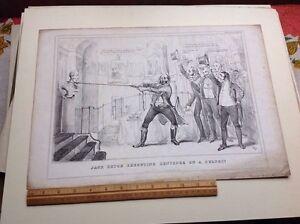 Original Duke Of Wellington Antique Lithograph Satire H.H Sketch 1831