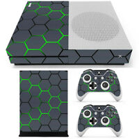 Green Grid Vinyl Decal Skin Stickers Cover for Xbox One S Console&2 Controllers