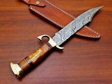 Rody Stan HANDMADE DAMASCUS CUSTOM BONE & ROSE WOOD LARGE BOWIE HUNTING KNIFE