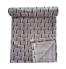 Indian Hand Block Kantha Quilt Handmade Bedspread Double Vintage Throw Blanket