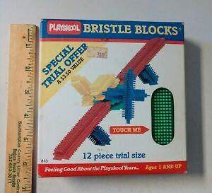 Vintage 1985 Playskool Bristle Blocks Trial Offer 12 Piece Set New / Old Stock