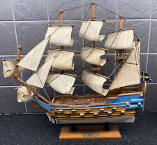 """More details for detailed wooden wasa galleon display model 13"""" high x 13"""" long 