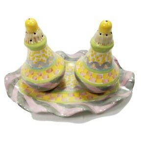 Vintage MacKenzie Childs RARE Ceramic Salt and  Pepper Shakers w Underplate Tray