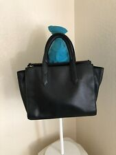 Fossil Knox Black Leather 3 Compartment Satchel Crossbody Tote Handbag