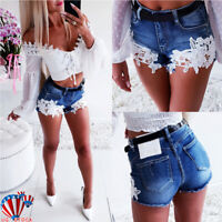 Women Lace Denim Shorts Jean Lady Casual Stretch Short Hot Pants Trousers Summer