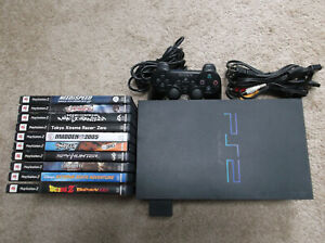 Sony PlayStation 2 PS2 w/ 10 Games, Controller, Cables Lot #3