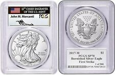 2017-W Burnished Silver Eagle Sp70 Pcgs First Strike Mercanti Limited 1 of 500!